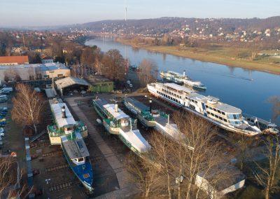 Winterreparaturen an den Schiffen der Sächsische Dampfschiffahrt in der  Werft Laubegast, Dresden, Sächsische Zeitung 1/2019