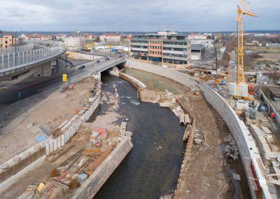Stand der Bauarbeiten an der neuen Hochwasserschutzanlage am Weißeritzknick, Dresden, Sächsische Zeitung 3/2019