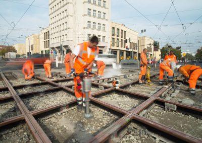DVB Straßenbahnbaustelle Albertplatz, Dresden, Sächsische Zeitung 10/2018