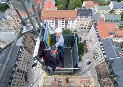Turmbaustelle Martin-Luther-Kirche, die Bauleute Manfred Eichler & Torsten Neumeister, Dresden, Sächsische Zeitung 7/2016